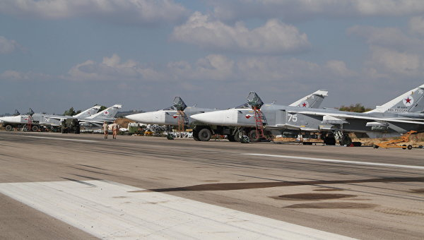 Российские штурмовики на аэродроме Хмеймим в Латакии