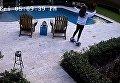 Девушка, ховерборд, бассейн