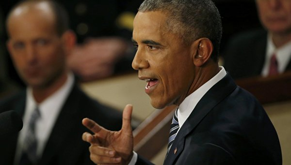 Президент США Барак Обама во время обращения к конгрессу. Архивное фото