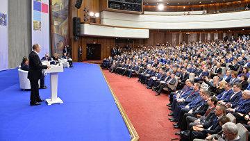 Президент РФ Владимир Путин принял участие в пленарном заседании всероссийского предпринимательского форума Малый бизнес – национальная идея?
