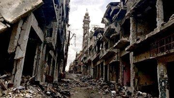 Разрушения в городе Хомс, архивное фото