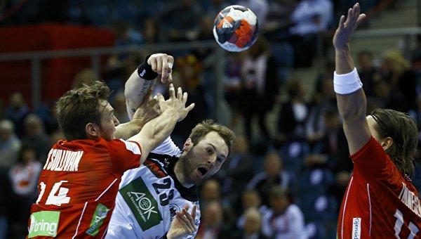 Эпизод матча Германия - Норвегия на чемпионате Европы по гандболу, 29 января 2016