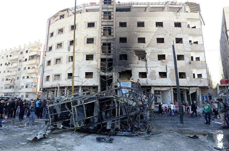Последствия тройного теракта в шиитском квартале Саида Зайнаб в Дамаске