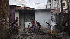 Медицинский работник распыляет инсектициды в жилом квартале в Ресифи, Бразилия. Архивное фото