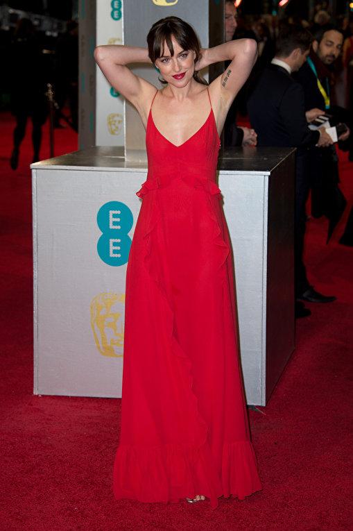 Актриса Дакота Джонсон на церемонии вручения премий Британской академии кино и телевизионных искусст