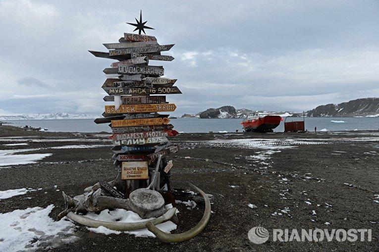 Указатель направлений на различные города на острове Ватерлоо в Антарктиде
