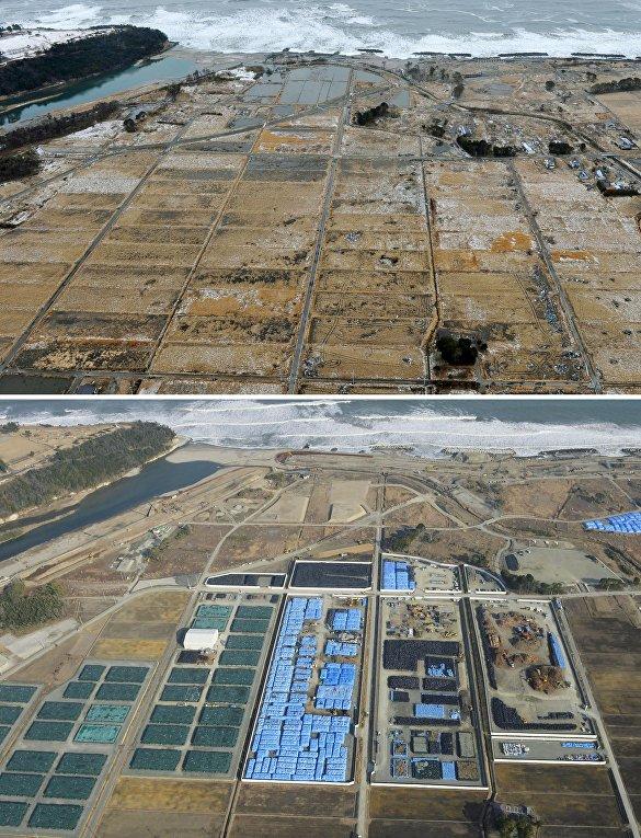 Снимок последствий цунами 26 февраля 2012 (вверху) и снимок 12 февраля 2016 (внизу) в Японии