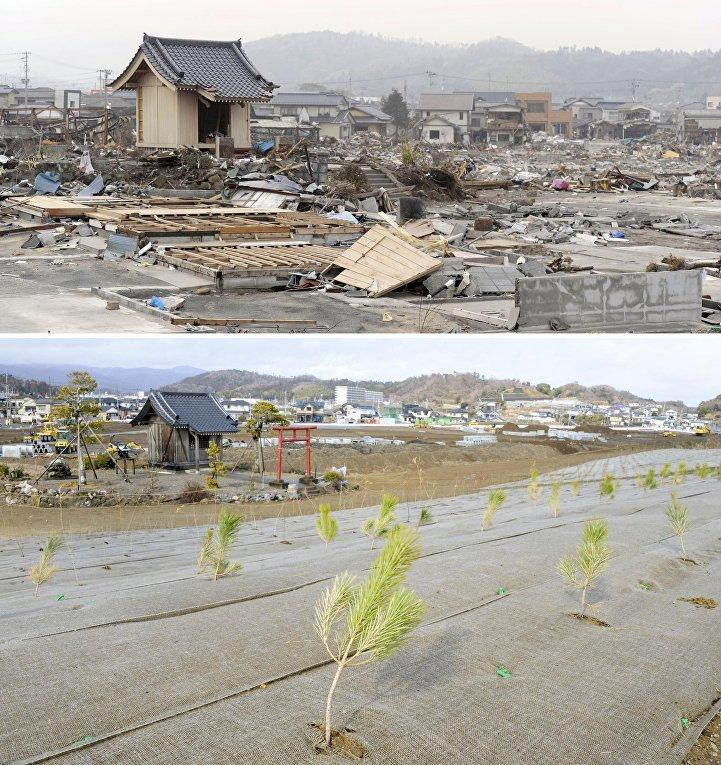 Снимок последствий цунами 27 апреля 2011 (вверху) и снимок 14 февраля 2016 (внизу) в Японии