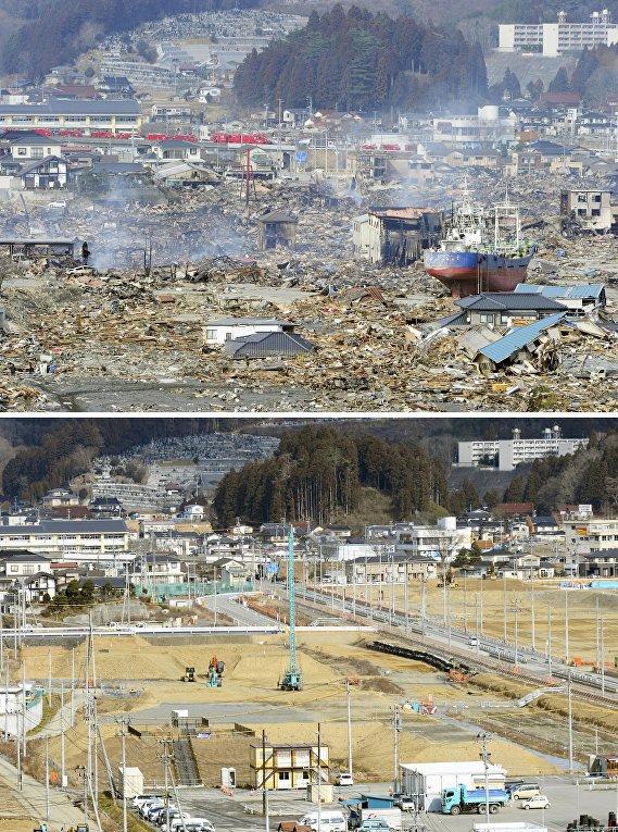 Снимок последствий цунами 17 марта 2011 (вверху) и снимок 17 января 2016 (внизу) в Японии