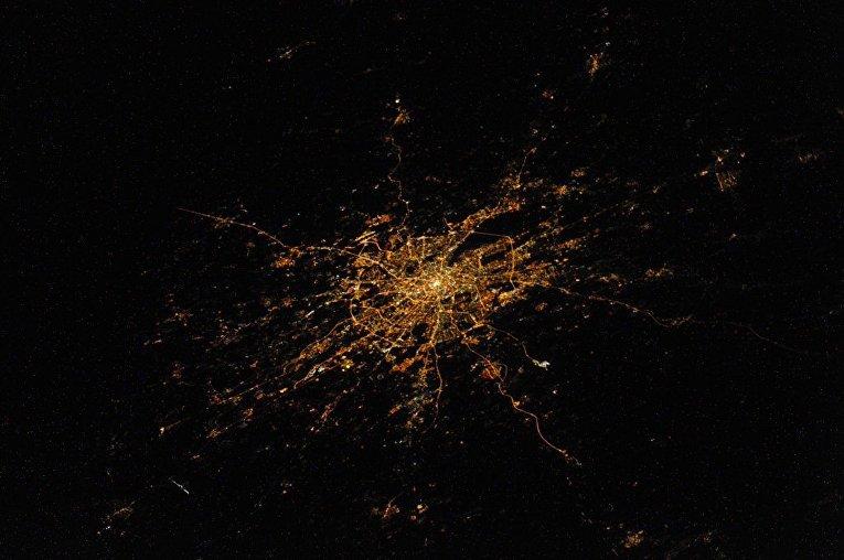 Вид Москвы снятый с Международной космической станции