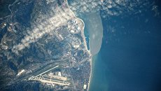 Вид на город Сочи снятый с Международной космической станции. Архивное фото