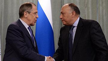 Министр иностранных дел РФ Сергей Лавров и министр иностранных дел Египта Самех Шукри во время пресс-конференции в Москве. Архивное фото