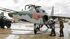 Подготовка штурмовика Су-25 ВКС России на авиабазе Хмеймим в Сирии к вылету. Архивное фото