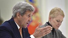 Государственный секретарь США Джон Керри во время встречи с президентом России Владимиром Путиным в Москве. 24 марта 2016