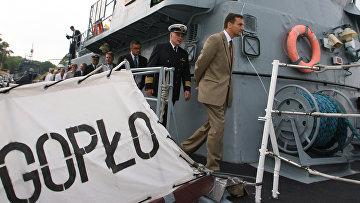 Заход в Балтийск корабля ВМС Польши объединенной группировки НАТО –базового тральщикаГопло