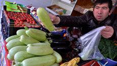 Продажа кабачков в одном из павильонов Фрукты-овощи в Казани