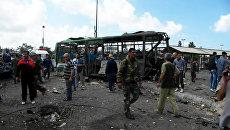 Первые кадры с места взрыва у автовокзала в сирийском Джабле
