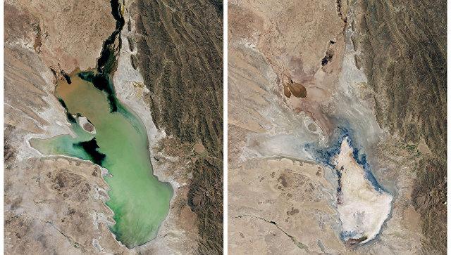 Озеро Поопо, Боливия. Апрель 2013 слева и январь 2016 справа