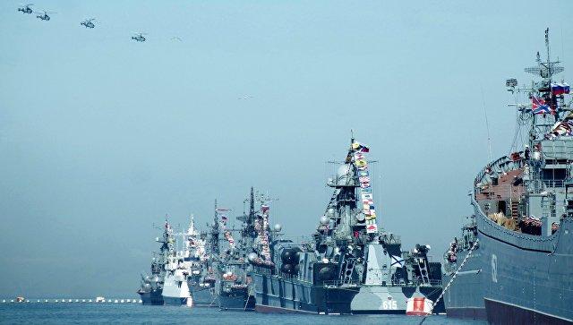 Корабли Черноморского флота РФ во время репетиции военного парада в Севастополе. Архивное фото