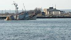 Затопленные корабли на озере Донузлав в Крыму