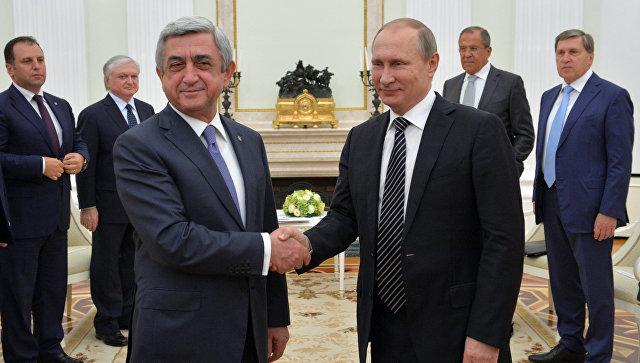 Президент РФ В. Путин и президент Армении С. Саргсян. Архивное фото
