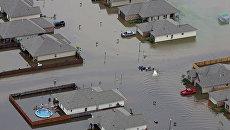 Затопленные дома во время наводнения в Луизиане