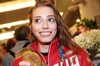 Спортсменка сборной России Вера Бирюкова во время церемонии встречи в аэропорту Шереметьево
