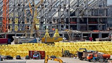 Строительная площадка стадиона к чемпионату мира по футболу 2018 года на острове Октябрьский в Калининграде. Архивное фото
