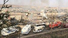 На месте взрыва в городе Джизре на на юго-востоке Турции. 26 августа 206