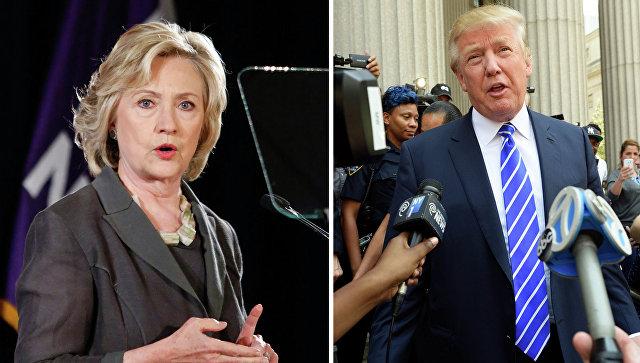 Кандидаты на выборах президента США от демократов - Хиллари Клинтон и Дональд Трамп - от республиканцев