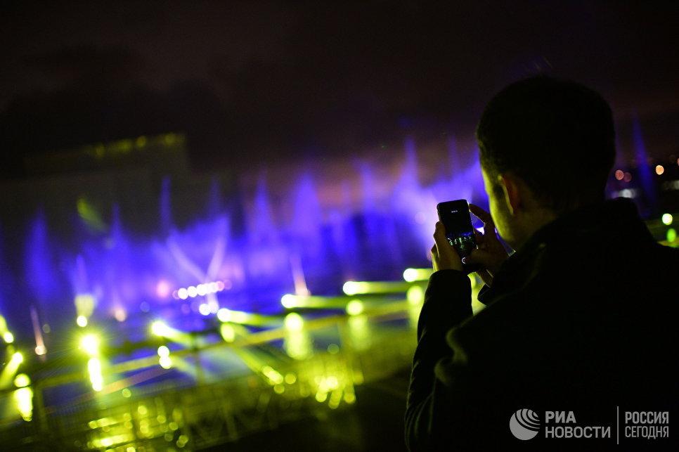 Репетиция мультимедийного светового шоу в рамках московского международного фестиваля Круг света 2016 в Москве