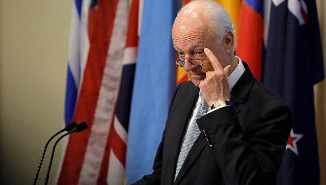 Inviato speciale delle Nazioni Unite per la Siria Staffan de Mistura parla del Consiglio di sicurezza delle Nazioni Unite a New York.  25 settembre 2016
