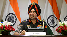 Начальник отдела боевых операций армии Индии Ранбир Сингх на брифинге в Нью-Дели. 29 сентября 2016