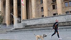 Мужчина с собакой на пробежке перед зданием парламента в Тбилиси. Архивное фото