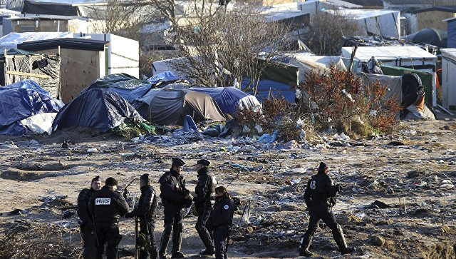 Лагерь мигрантов в городе Кале, Франция. 21 января 2016