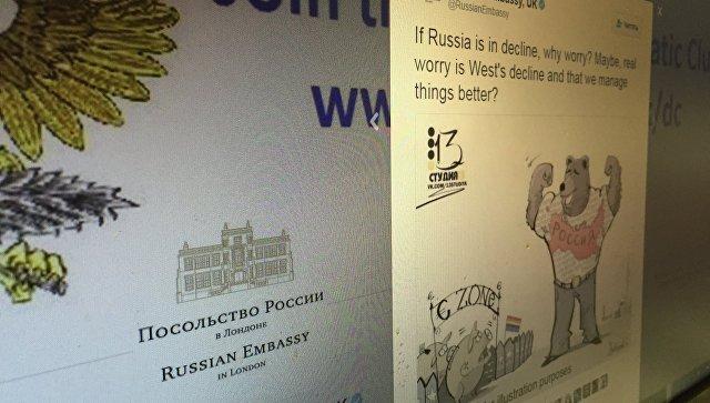 Фото страницы твит-аккаунта российского посольства в Великобритании