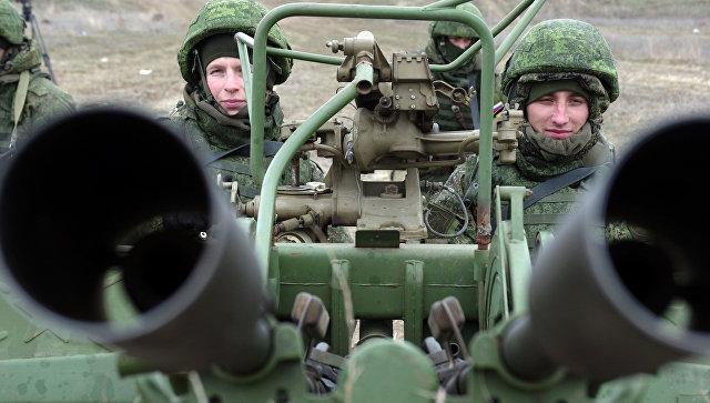 Зенитная артиллерийская установка ПВО РФ на учениях, в рамках внезапной комплексной проверки боеготовности в войсках Южного военного округа