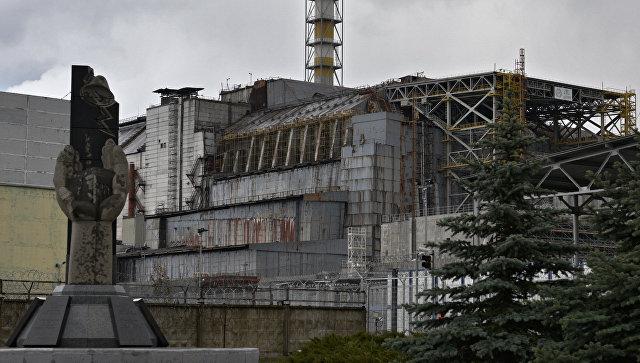 Саркофаг на энергоблоке Чернобыльской атомной электростанции
