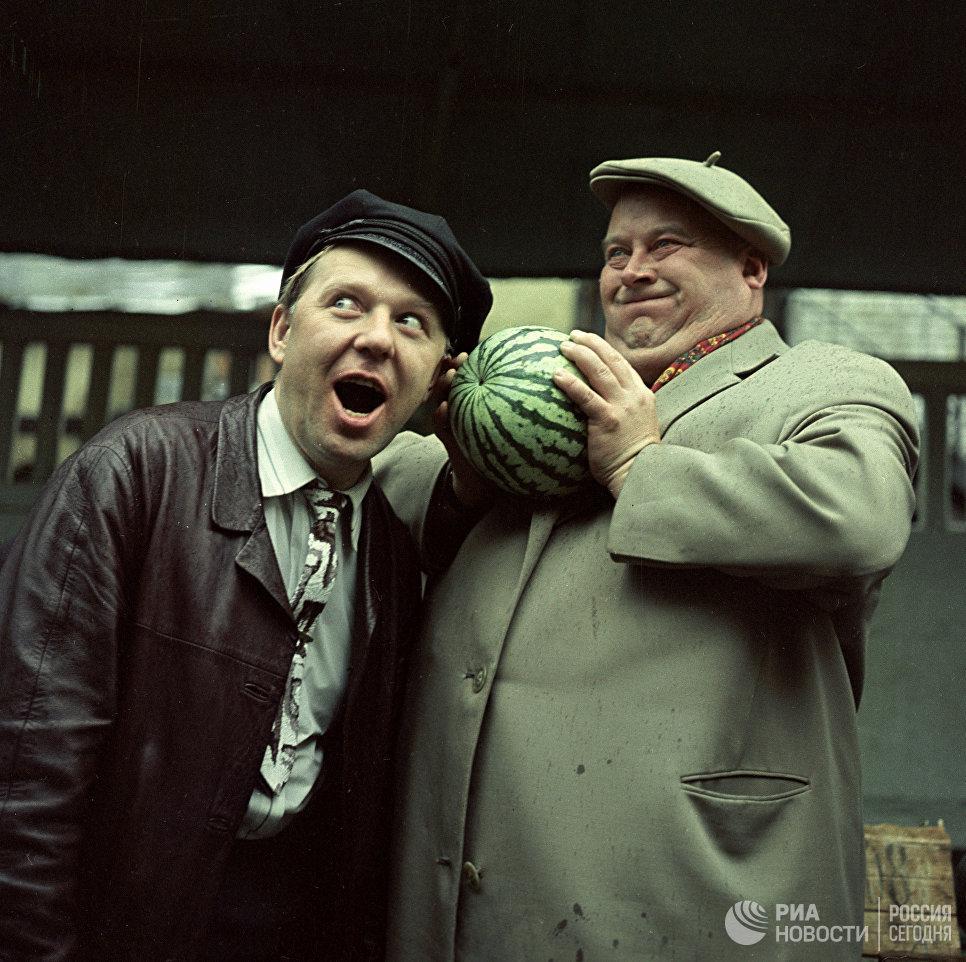 Актер Евгений Моргунов и клоун Олег Попов
