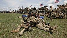 Американские военные во время учений НАТО в Грузии