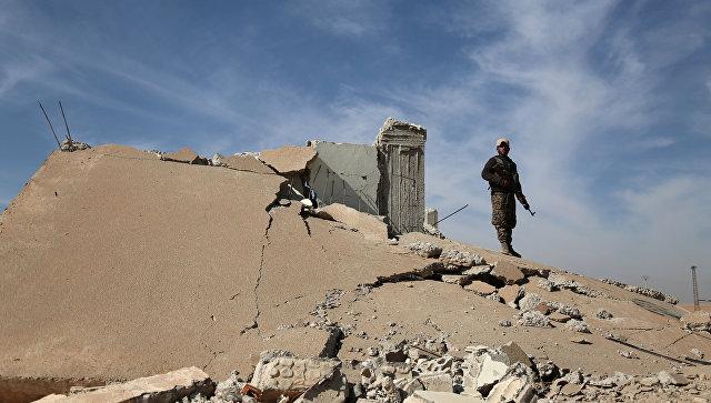 Боец Демократических сил Сирии у разрушенного здания в Ракке. 7 ноября 2016 года