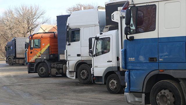 Грузовики в очереди на пересечение российско-украинской границы. Архивное фото