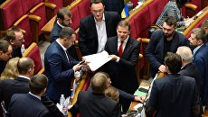 Лидер Радикальной партии Олег Ляшко на заседании Верховной рады Украины в Киеве. 15 ноября 2016