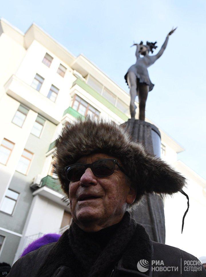 Композитор Родион Щедрин на открытии памятника балерине Майе Плисецкой на улице Большая Дмитровка