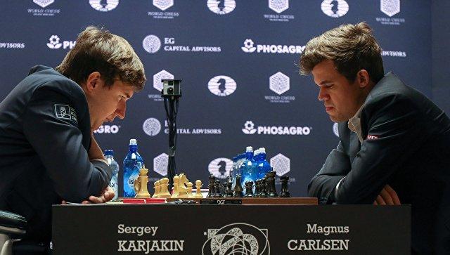 Сергей Карякин и Магнус Карлсен в матче за звание чемпиона мира 2016 в Нью-Йорке
