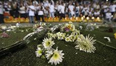 Церемония в память о погибшей в авиакатастрофе бразильской футбольной команде Шапекоэнсе на стадионе в городе Медельин, Колумбия. Архивное фото