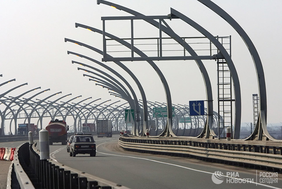 Строящийся участок Западного скоростного диаметра в Санкт-Петербурге