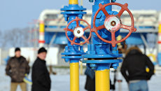 Сотрудники компании Нафтогаз на газокомпрессорной станции Бобровницкая Черниговской области, Украина