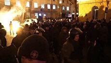 Столкновения фанатов Манчестер Юнайтед и Зари перед матчем в Одессе
