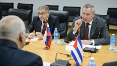 Дмитрий Рогозин на встрече с заместителем председателя совета министров Кубы Рикардо Кабрисасом Руисом. 9 декабря 2016